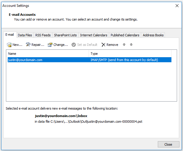 Select emai laccount Outlook 2007