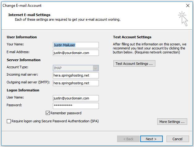 Outlook 2007 account settings