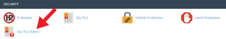 """cPanel """"security"""" section"""
